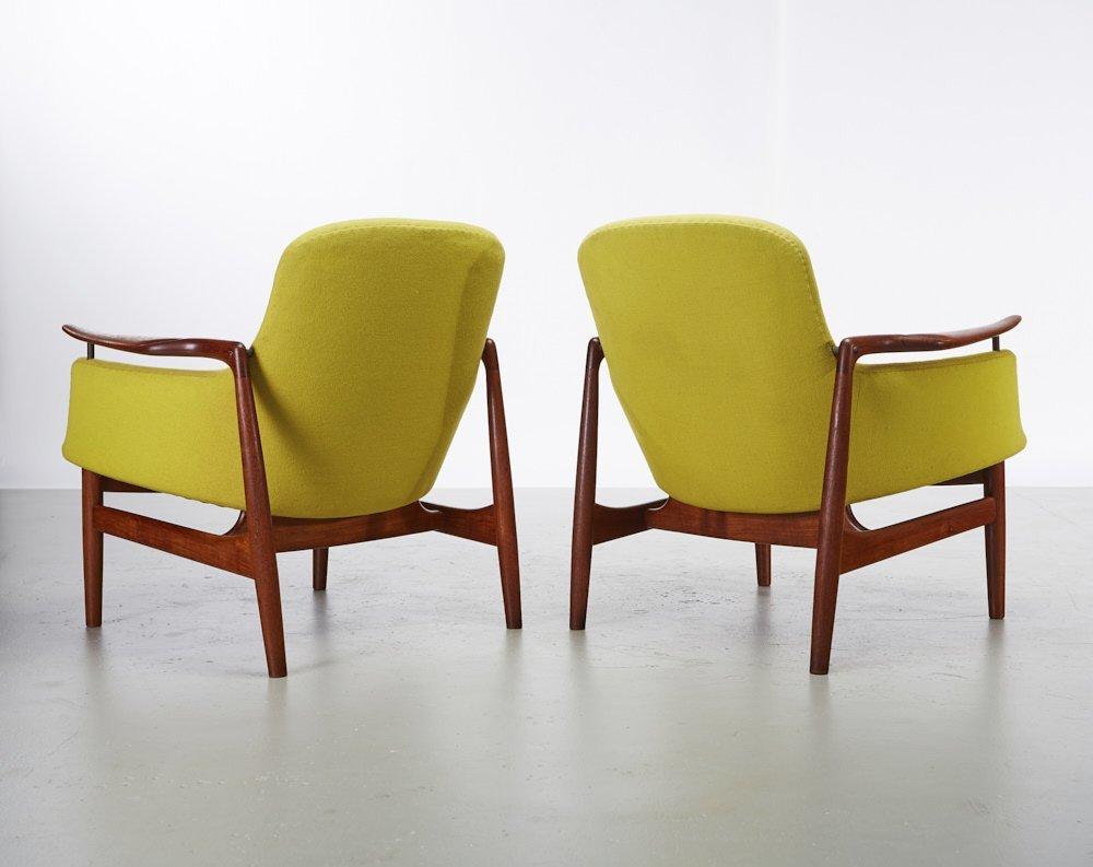 Pair of Finn Juhl Teak NV-53 Danish Lounge Chairs - 8