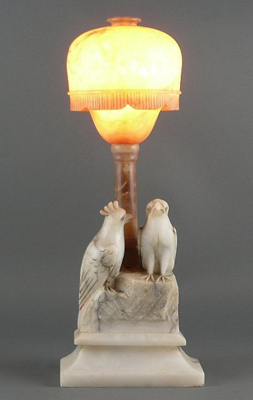 2: Art Deco 1920s Italian Carved Marble Parrot Lamp