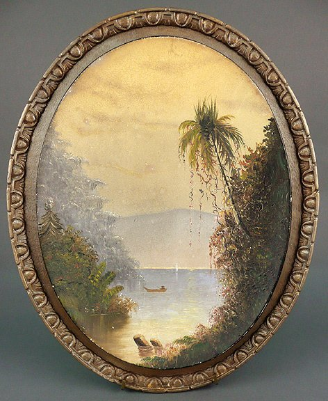 4: Antique 19C Tropical Landscape Oil Painting Herzog ?