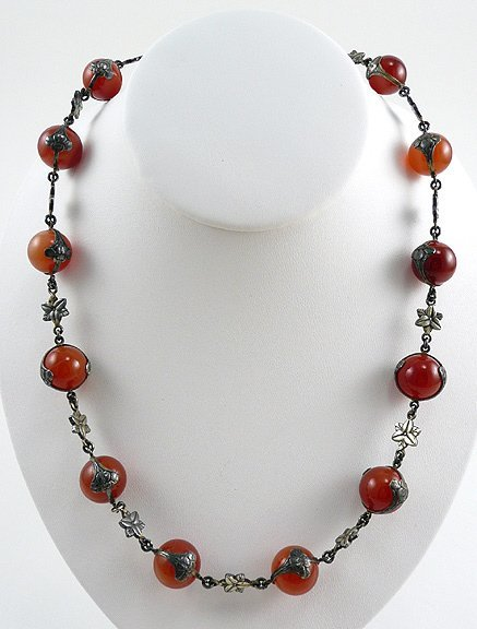 5: Fine Art Nouveau 1915 Sterling Carnelian Necklace