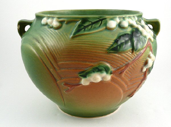 11: Roseville Art Pottery Green Snowberry Jardiniere