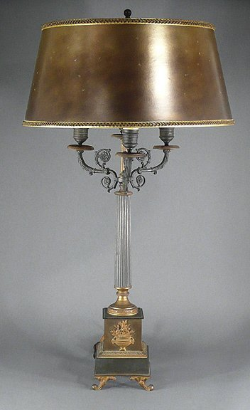 14: Antique 19C French Empire Bronze Candelabra Lamp