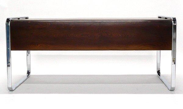 17: Herman Miller Mid Century Zebrawood Chrome Desk