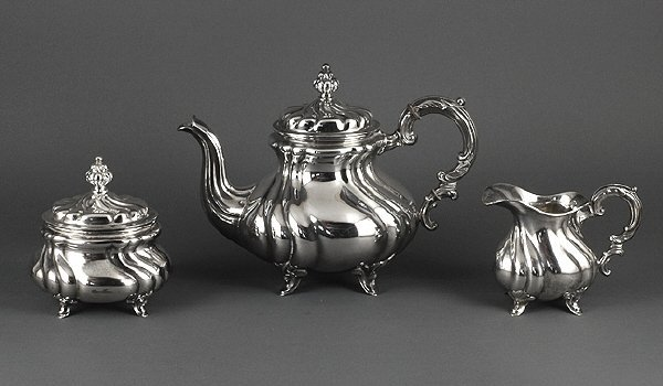 18: German Art Deco 1930s Coin Silver Sterling Tea Set