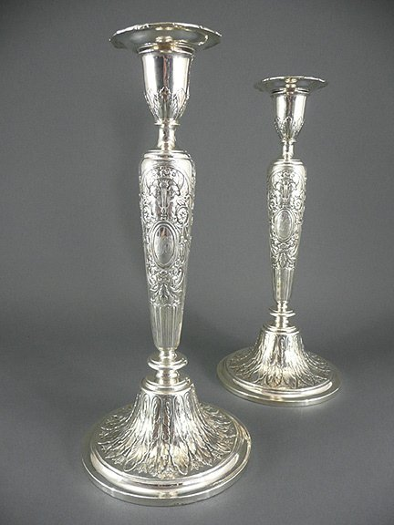 19: Pair Antique Gorham Sterling Cherub Candlesticks
