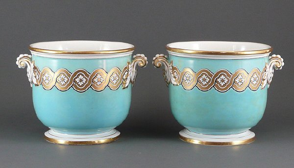 20: Pair Antique 19C French Old Paris Gilt Cache Pots