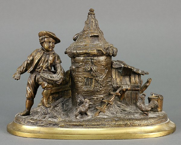 24: French 19C Bronze Figural Inkwell Young Boy and Hen