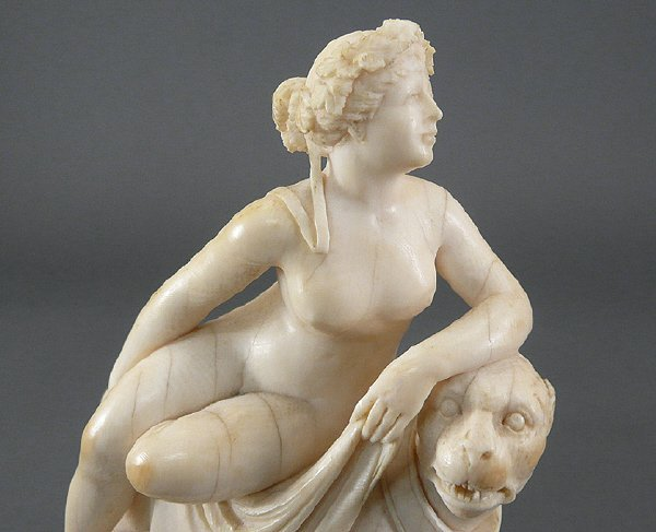 70: Antique French 19C NUDE Woman IVORY on Fierce Lion