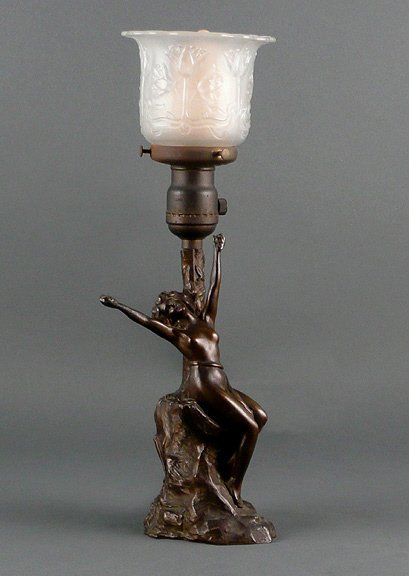 115: Old Art Nouveau Nude Bronzed Spelter Figural Lamp