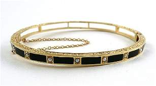 137 Art Deco 14K Gold Enamel and Pearl Ladies Bracelet