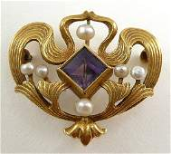 164 Old Art Nouveau 1905 Amethyst  Pearl 14K Gold Pin