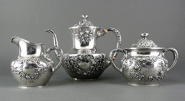 179: Fine Gorham Sterling Silver Repousse 3pcs. Tea Set