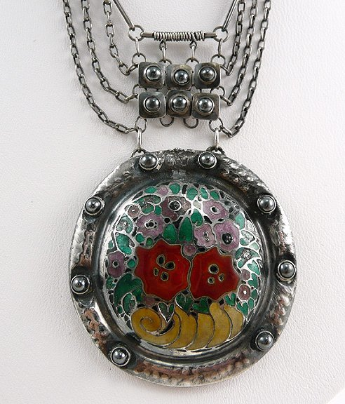 313: TFahrner Art Nouveau 1915 Enamel Sterling Necklace