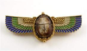 341 Art Deco Egyptian Revival Enamel 18K Gold Wing Pin