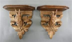 370: 370 Pr Black Forest Figural Carved Deer Shelves