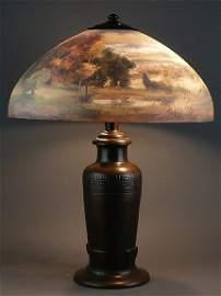"""387: Handel 18"""" Reverse Painted Landscape """"6785"""" Lamp"""