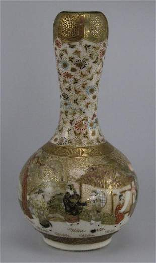 "Meiji Period Miniature Kyoto Satsuma 3 1/2"" Vase"