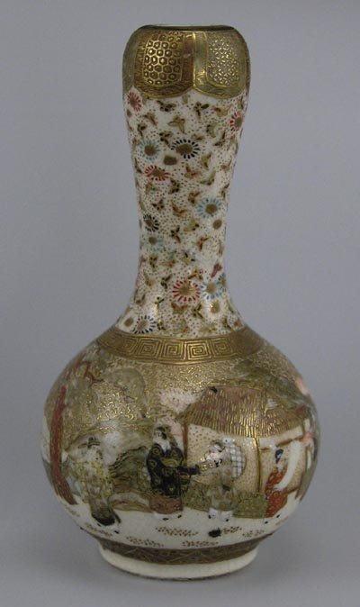 "1: Meiji Period Miniature Kyoto Satsuma 3 1/2"" Vase"