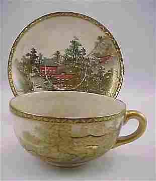 Intricate Kyoto Satsuma Meiji Period Cup & Saucer