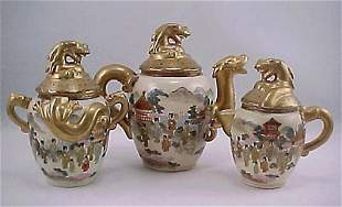 Antique Japanese Kyoto Satsuma 3-pcs Tea Set