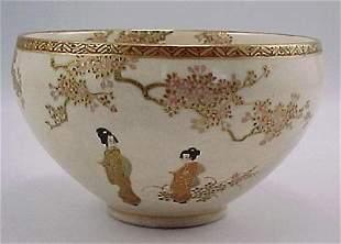 Antique Kyoto Satsuma Japanese Porcelain Bowl