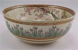 Fine Sgd. Kyoto Satsuma Meiji Period Iris Bowl