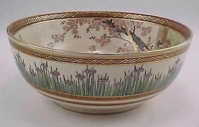 9: Fine Sgd. Kyoto Satsuma Meiji Period Iris Bowl