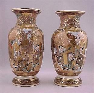 Pair of Taisho Period Japanese Satsuma Vases