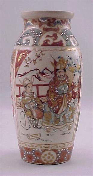 Antique Satsuma Meiji Vase with Scenes of Family