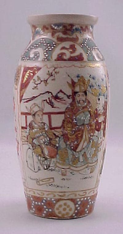 11: Antique Satsuma Meiji Vase with Scenes of Family