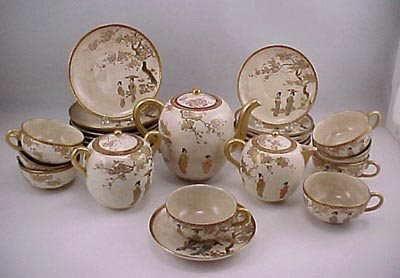 12: Meiji Period Kyoto 17 pcs. Satsuma Tea Pot Set