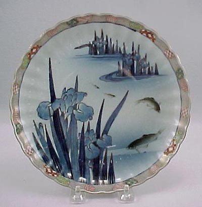 17: Fukagawa 19thC Japanese Imari Iris & Carp Plate