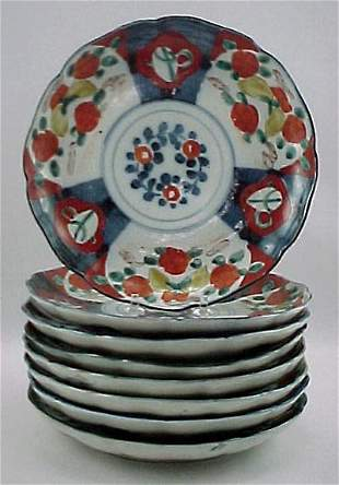 Set of 8 Imari Meiji Taisho period Antique Plate s