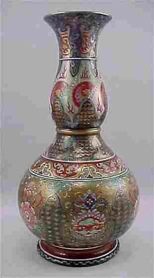 "Rare 19C Signed Chinese Imari Dble Gourd 12"" Vase"