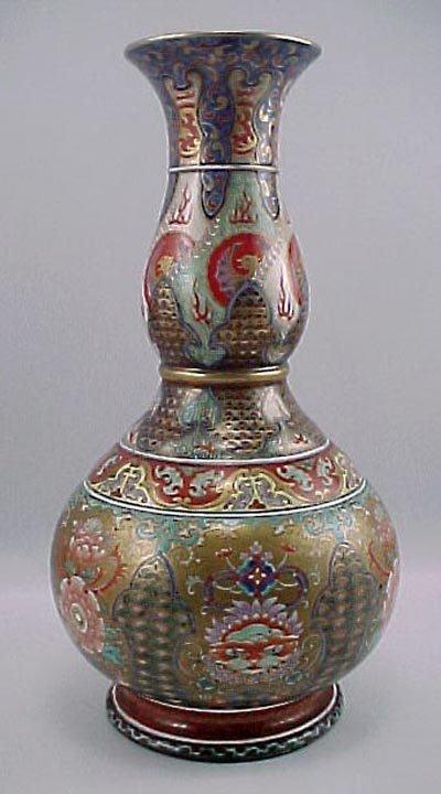 "21: Rare 19C Signed Chinese Imari Dble Gourd 12"" Vase"