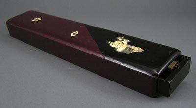 101: Antique Japanese 1920s Lacquer MOP Chopsticks Box