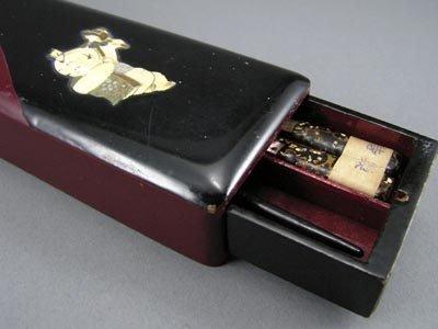 101: Antique Japanese 1920s Lacquer MOP Chopsticks Box - 2