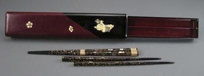 101: Antique Japanese 1920s Lacquer MOP Chopsticks Box - 5