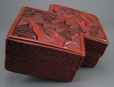 108: Old Chinese 1930s Cinnabar Lacquer Scenic Box