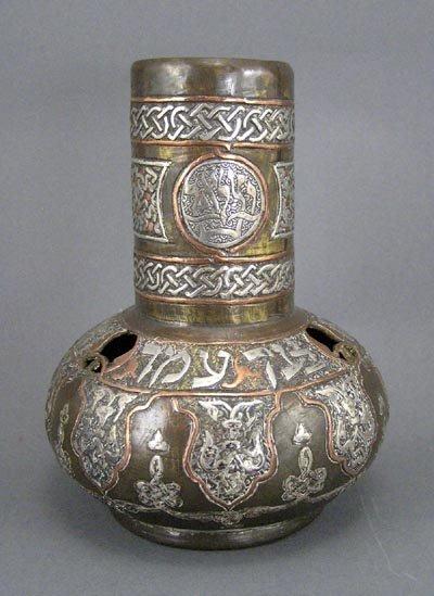 149: Mixed-Metal Silver Islamic Judaica Damascene Vase