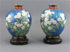 209: Pair Signed 1930s Floral Butterfly Cloisonne Vase