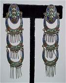 233 Pair Chinese Enamel Art Deco 1920s Silver Earrings