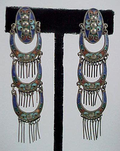 233: Pair Chinese Enamel Art Deco 1920s Silver Earrings