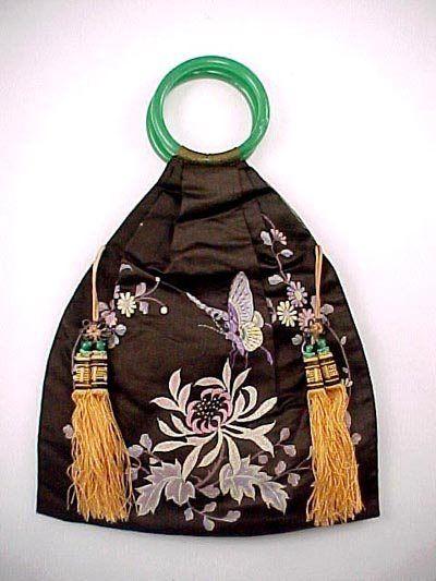 Art Deco Chinese 1920s Silk Butterflies Handbag