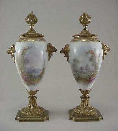 376: Pair 19C French HP Porcelain Rams Head Ormolu Urn