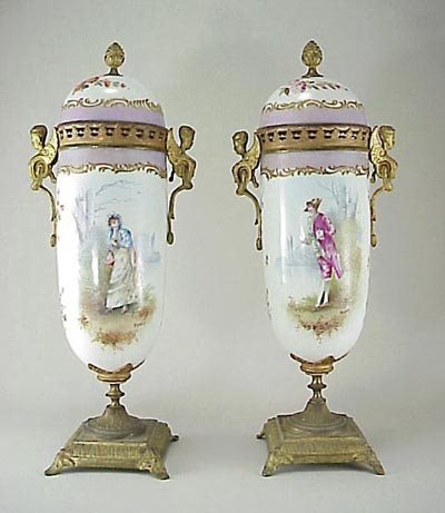 377: Pair 19th C. French Sevres Porcelain Ormolu Urn s