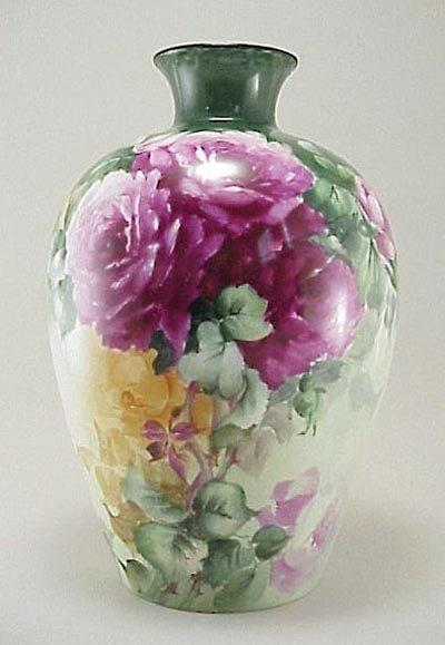 """380: Antique Limoges France 12"""" HP Roses Porcelain Vase"""