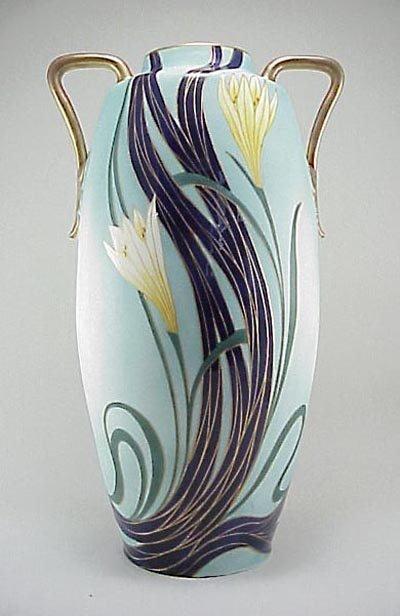 """381: Old Carlsbad Austria Porcelain 17"""" HP Floral Vase"""