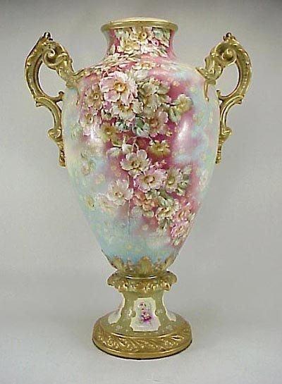 """383: Large Antique 19th C. Royal Bonn Floral 23"""" Vase"""