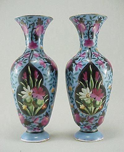 384: Pair 19th C. French Old Paris H P Porcelain Vase s